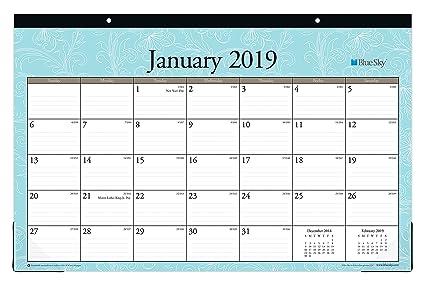 Amazon Com Blue Sky 2019 Monthly Desk Pad Calendar Ruled Blocks