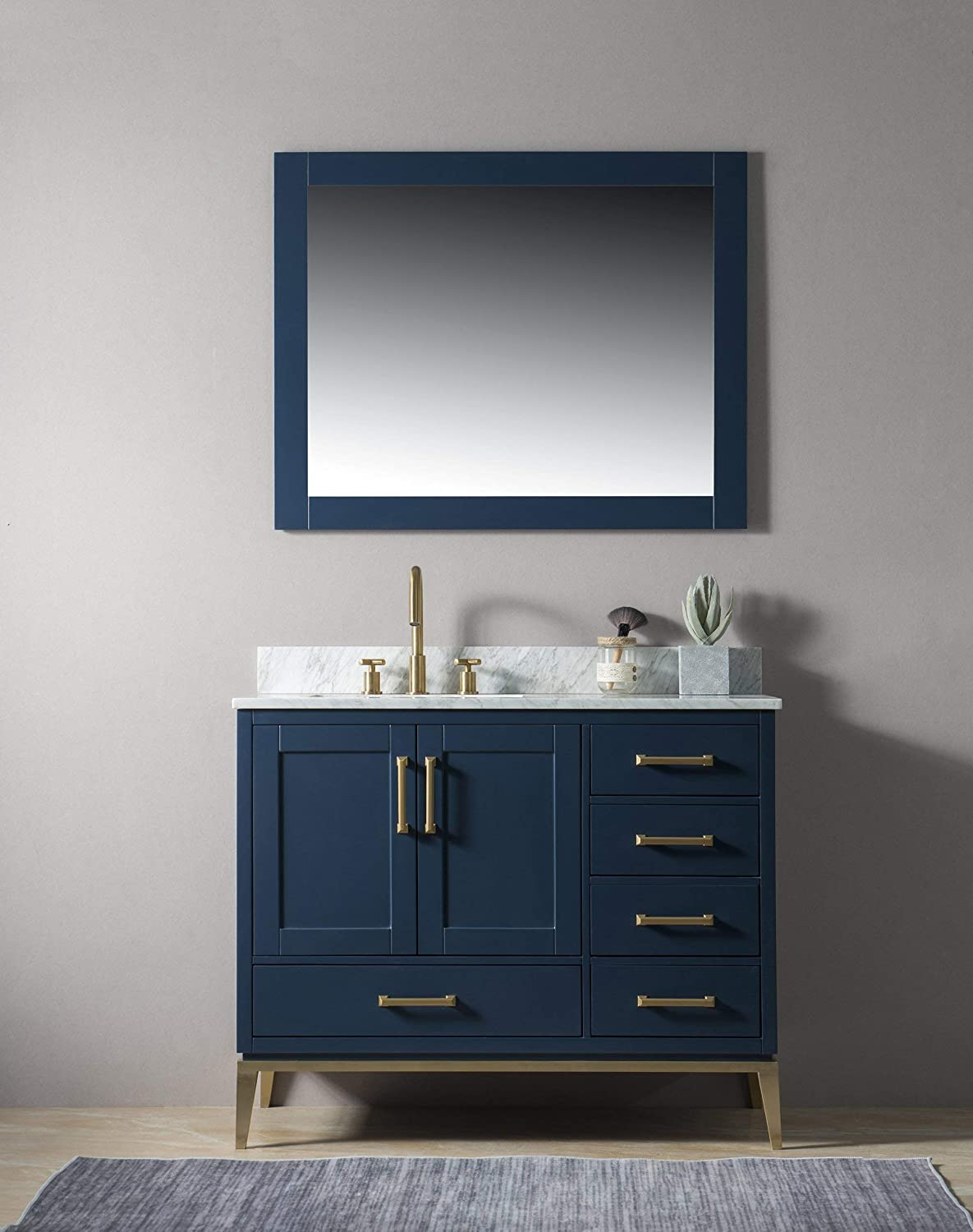 UrbanFurnishing.net – Joy 42-Inch 42 Bathroom Sink Vanity Set with White Italian Carrara Marble Top – Blue