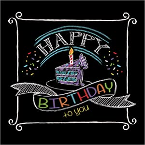 Creative Converting 16 Count Chalk Birthday Beverage Napkins, Black/White - 655971
