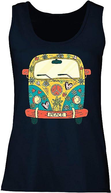 lepni.me Camisetas sin Mangas para Mujer Años 60 70 Hippie Van, Flores, Amor, símbolo de Paz Libertad