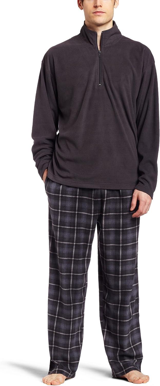 Intimo Men's Sleepwear Micro Fleece Two Piece Pajamas Set, Charcoal, Small
