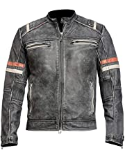 d7771cceb Fashion First Cafe Racer Retro Vintage Motorcycle Black Distressed Leather  Jacket