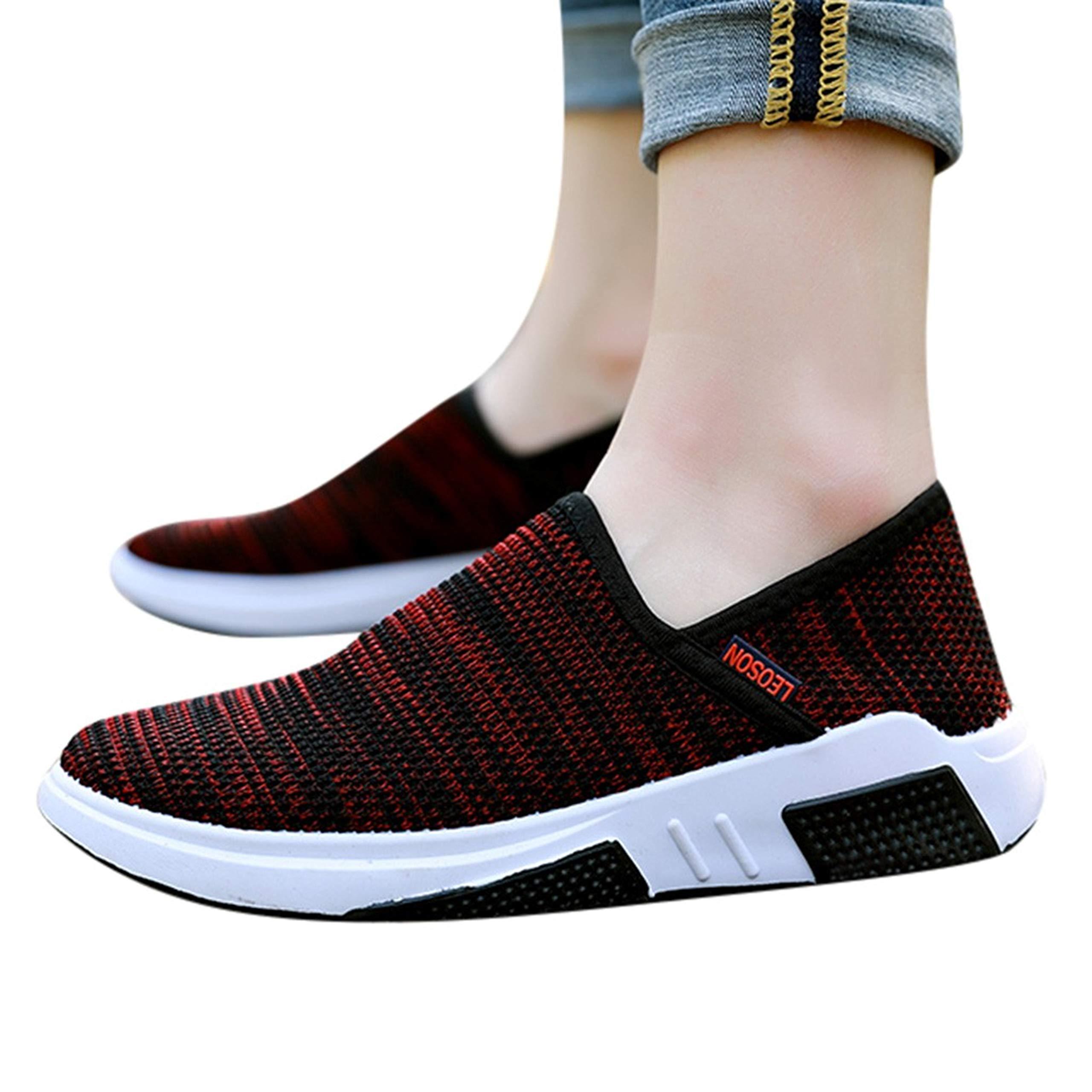 Goldweather Women Walking Sneakers Shoes Comfortable Mesh Sports Casual Running Shoes Lightweight Slip-On Low-Top Trainers Athletic Shoes (Red, US:7.5) by Goldweather