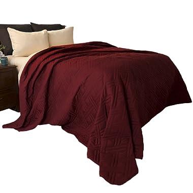 Lavish Home 66-40-K-BU Solid Color Bed Quilt-King-Burgundy
