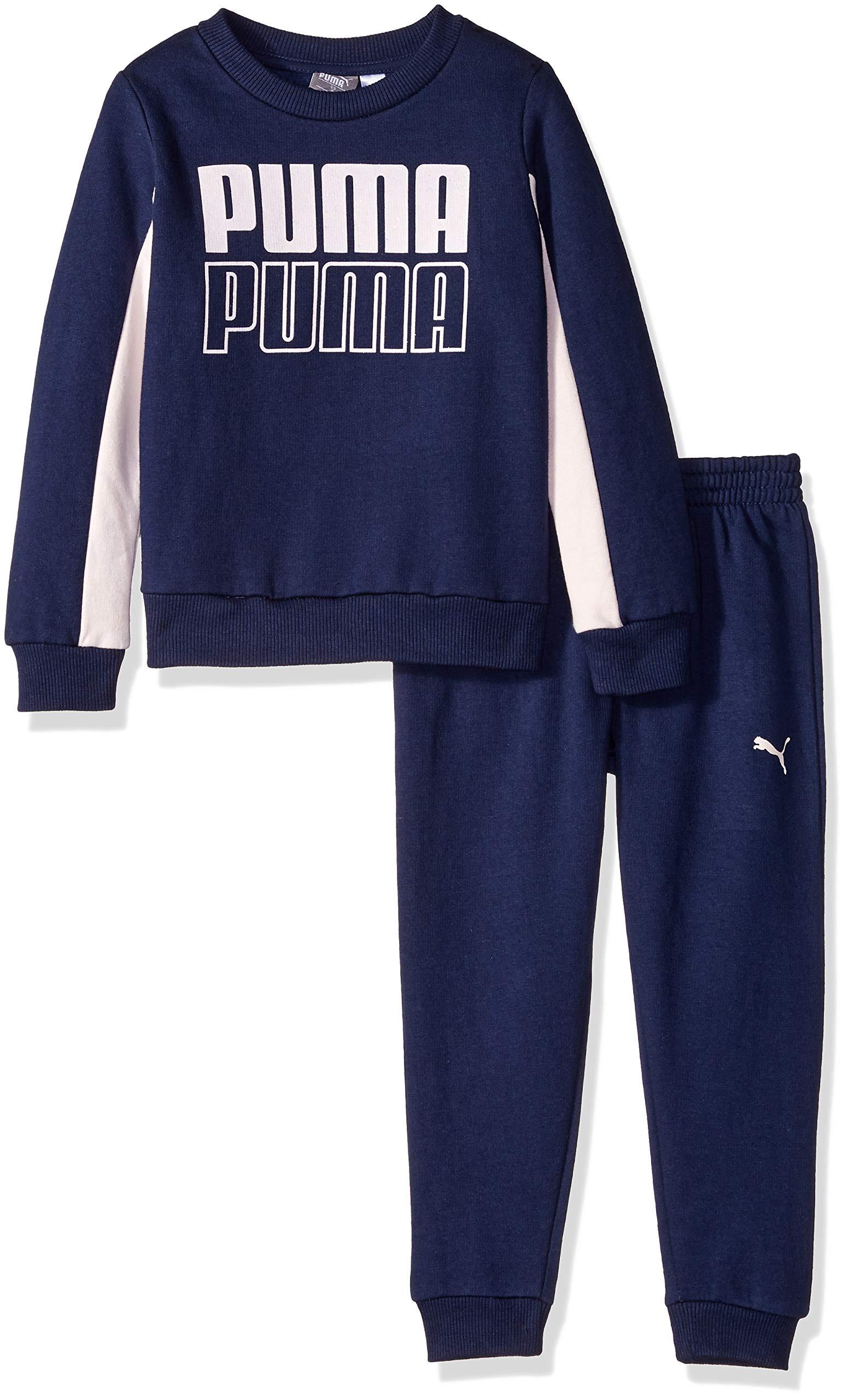 PUMA Little Girls' Pullover Fleece Set, Peacoat, 4