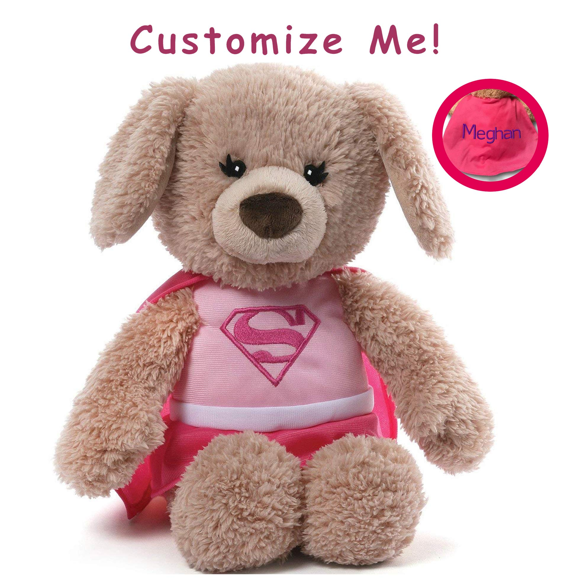 GUND Personalized DC Comics Supergirl Yvette Dog Stuffed Animal Plush, Pink, 12'' by GUND
