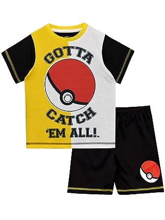 Pokèmon Pijamas de Manga Corta para niños Pokeball: Amazon.es: Ropa y accesorios