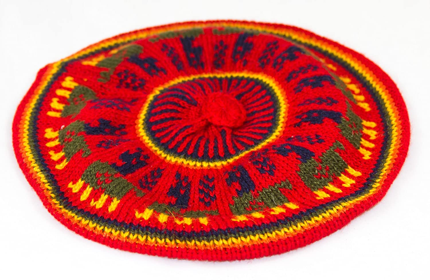 Tumia LAC Wool Multicoloured Beret With Llama pattern - Fair trade and hand-knitted in Bolivia. One Size