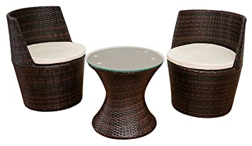 Verona 3 Piece Rattan Garden Patio Furniture Vase Dining Eating Picnic Table Set 2 Chair