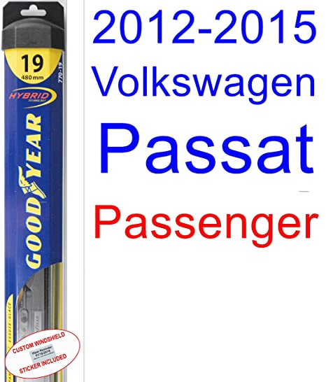 Amazon.com: 2012-2015 Volkswagen Passat Wiper Blade (Passenger) (Goodyear Wiper Blades-Hybrid) (2013,2014): Automotive