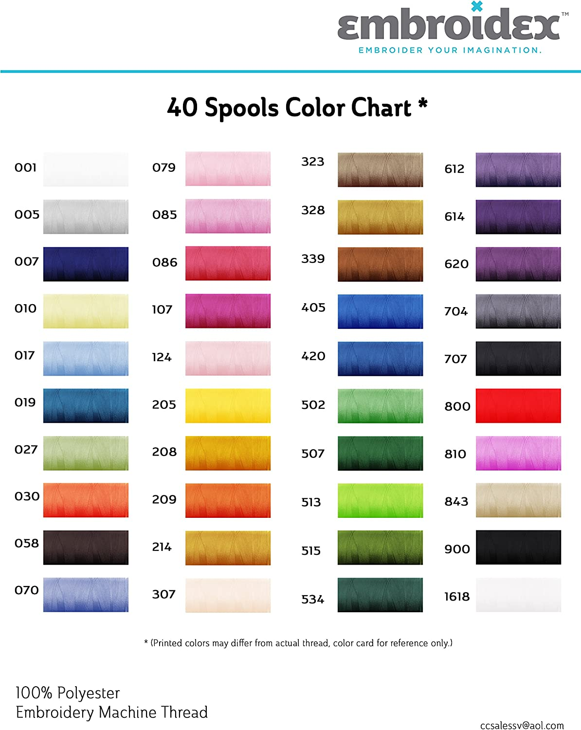 Embroidex 100 Spools Polyester Embroidery Machine Thread STUNNING COLORS