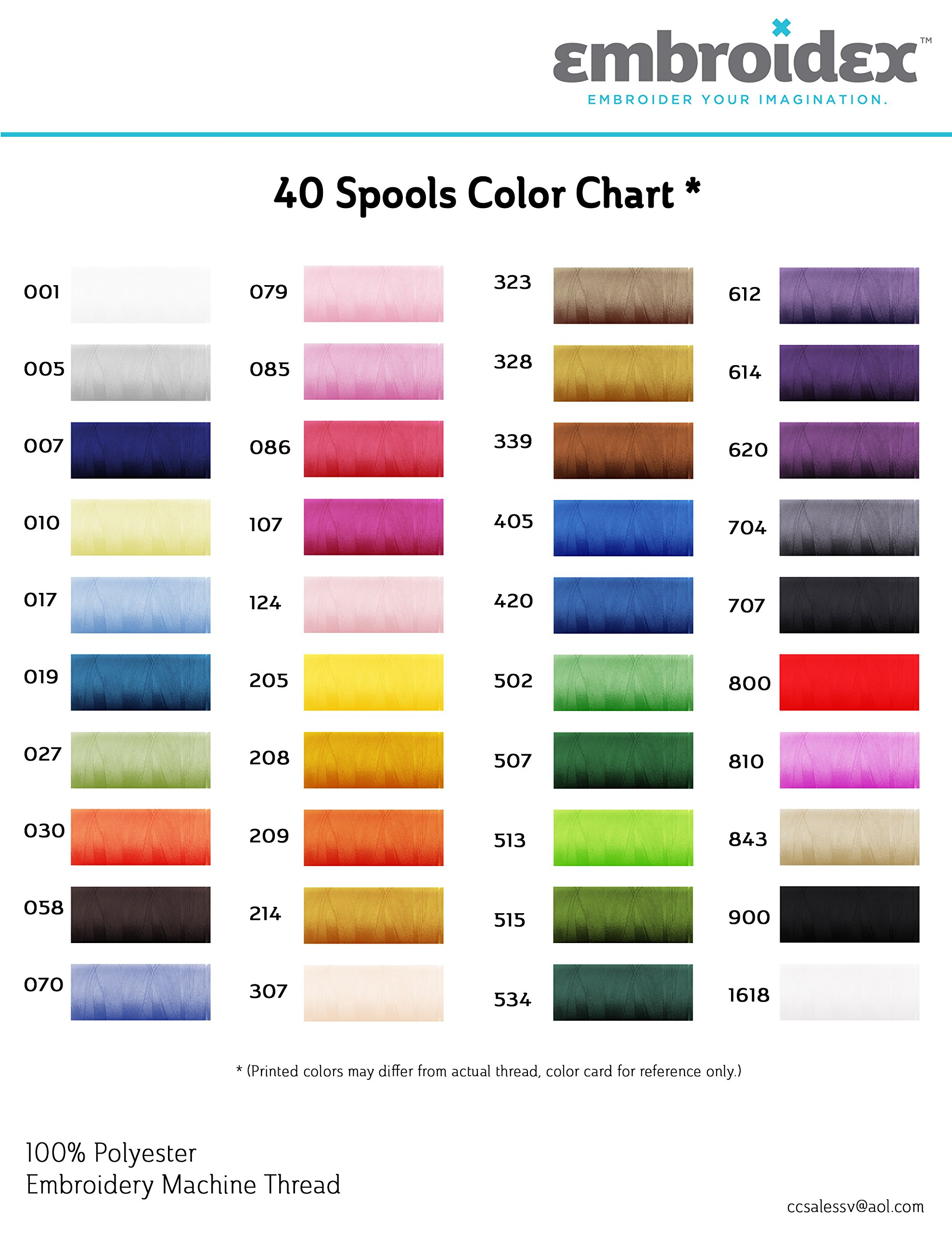 40 Spools Polyester Embroidery Machine Thread by Embroidex