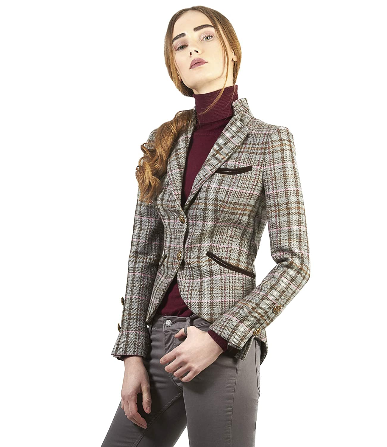 The Extreme Collection® - Blazer de Cuadros para Mujer Color Gris: Amazon.es: Ropa y accesorios