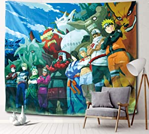 Sosolong Japanese Anime Tapestry Naluto Hanging Tapestry for Room Decor Boys Bedroom Wall Decor (Naluto 2, 59in51in)