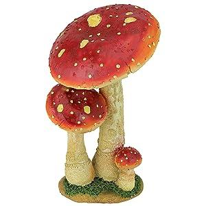 Design Toscano Mushroom Garden Statue - Red Mystic Forest Mushroom Statue - Garden Statue