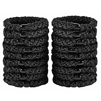 Amazon.com   HBY 18 PCS Large Hair Ties Ponytail Holders for Thick Hair -  Stretchy Elastic Hair Bands for Women and Girls - Black   Beauty a63ccf05a87