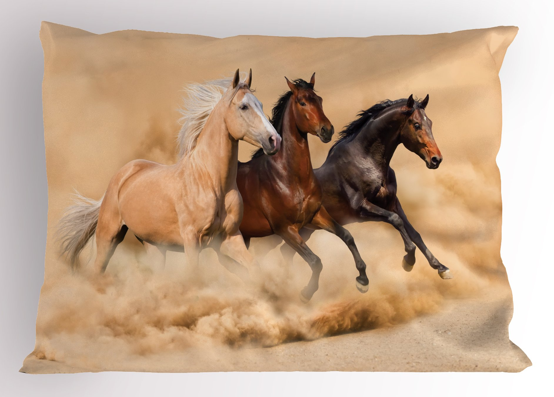 Lunarable Horses Pillow Sham, Three Horse Running in Desert Storm Mythical Mystic Messenger Animals Habitat Print, Decorative Standard Queen Size Printed Pillowcase, 30 X 20 Inches, Cream Brown
