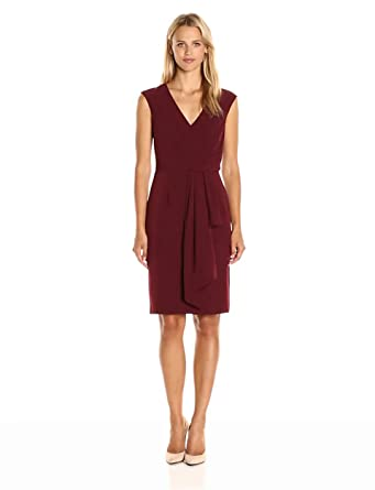Adrianna Papell Women\'s Draped Surplice Neckline Sheath Dress at ...