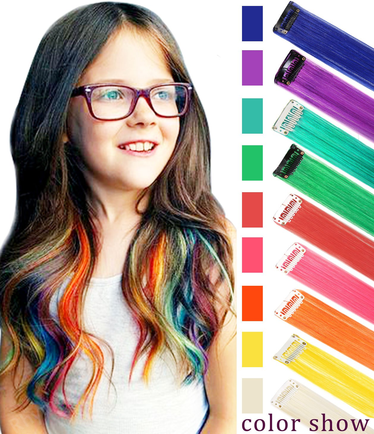 CCW 9PCS Wig Pieces For America Girls and Dolls Clip In/On Colored Hair Extensions(Rainbow Color)
