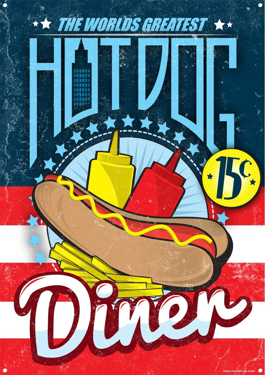 Cartel Metálico The Worlds Greatest Hot Dog Diner 30,5x40 ...