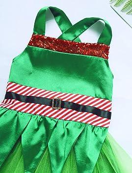 YiZYiF Disfraz Duende Verde Niñas Vestido Navideño Tutú Bebés ...