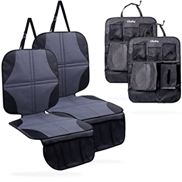 ohuhu 4 packs car seat protectors and kick mat car back seat cover 2 sets