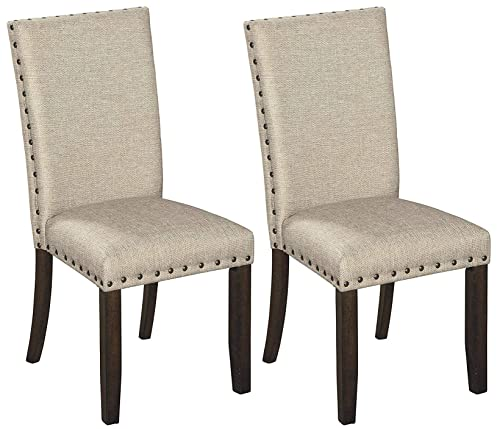 Signature Design by Ashley – Rokane Dining Chairs – Solid Back – Set of 2 – Tan