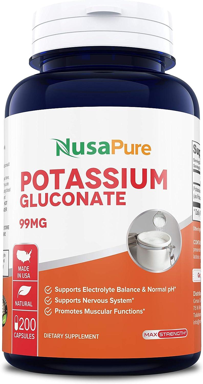 Potassium Gluconate 99mg 200caps (Non-GMO & Gluten Free) Leg & Muscle Cramp Relief - Blood Pressure Support