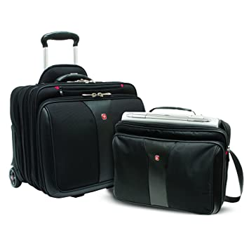 34cd2c1cf Amazon.com | Wenger Luggage Patriot Rolling 2 Piece Business Set, Black |  Briefcases