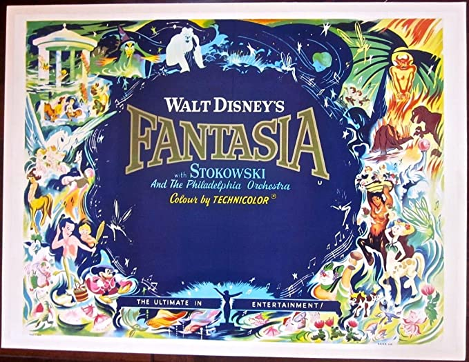 Cut 50 Fantasia Vintage R63 British Quad Lb Poster Colorful Disney Artwork At Amazon S Entertainment Collectibles Store