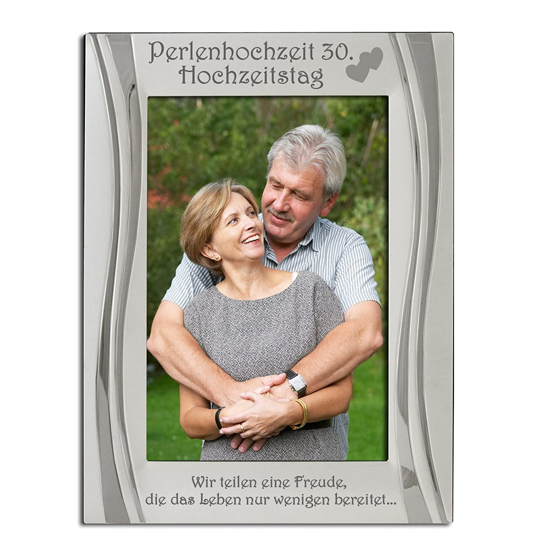 Amazon.de: Perlenhochzeit 30. Hochzeitstag Bilderrahmen, Versilbert ...