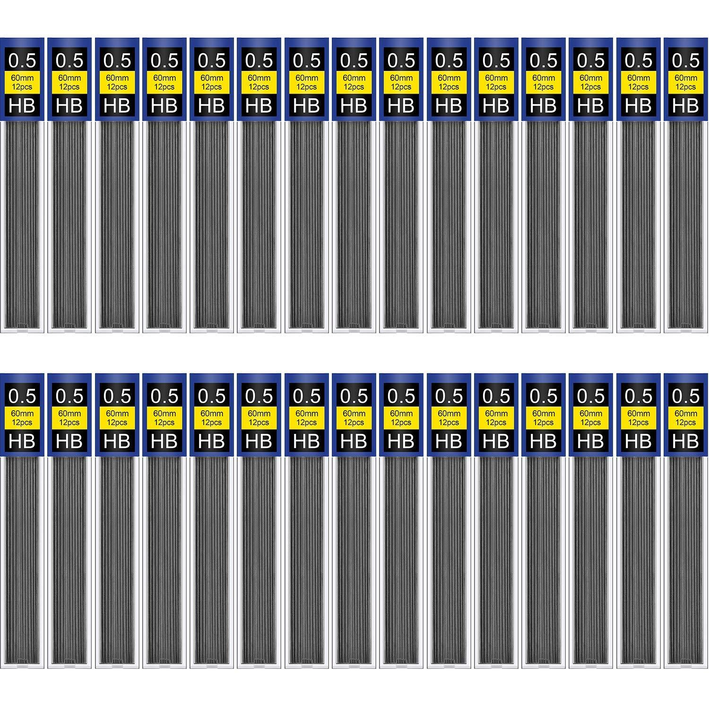 DaveandAthena 720 Pieces HB Black Lead Refills 0.5 mm Break Resistant Mechanical Pencil Refills 60 Tubes 12 Pack Per Tube