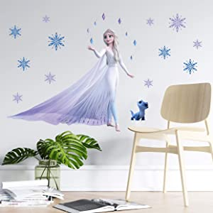 TUWUNA Frozen 2 Wall Decals,Giant Elsa Stickers Girl's Cartoon Bedroom Background Wall Decoration Self-Adhesive Wall Sticker for Party Decorations,Party Decal for Kids Party Favors