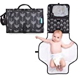 Portable Diaper Changing Station with Cushioned Mat and Head Pillow - Foldable Lightweight Travel Pad Clutch with Pockets