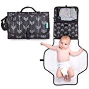 Portable Diaper Changing Station with Cushioned Changing Mat and Head Pillow - Foldable Lightweight Pad Clutch with Pockets