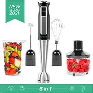 CHEFX 5-in-1 Immersion Blender - 9 Speed Ultra Powerful Stainless Steel Hand Mixer for Kitchen - Electric Handheld Stick Frother - Chop/Grind/Whisk/Froth/Blend - Turbo Mode - Food Grinder + Container