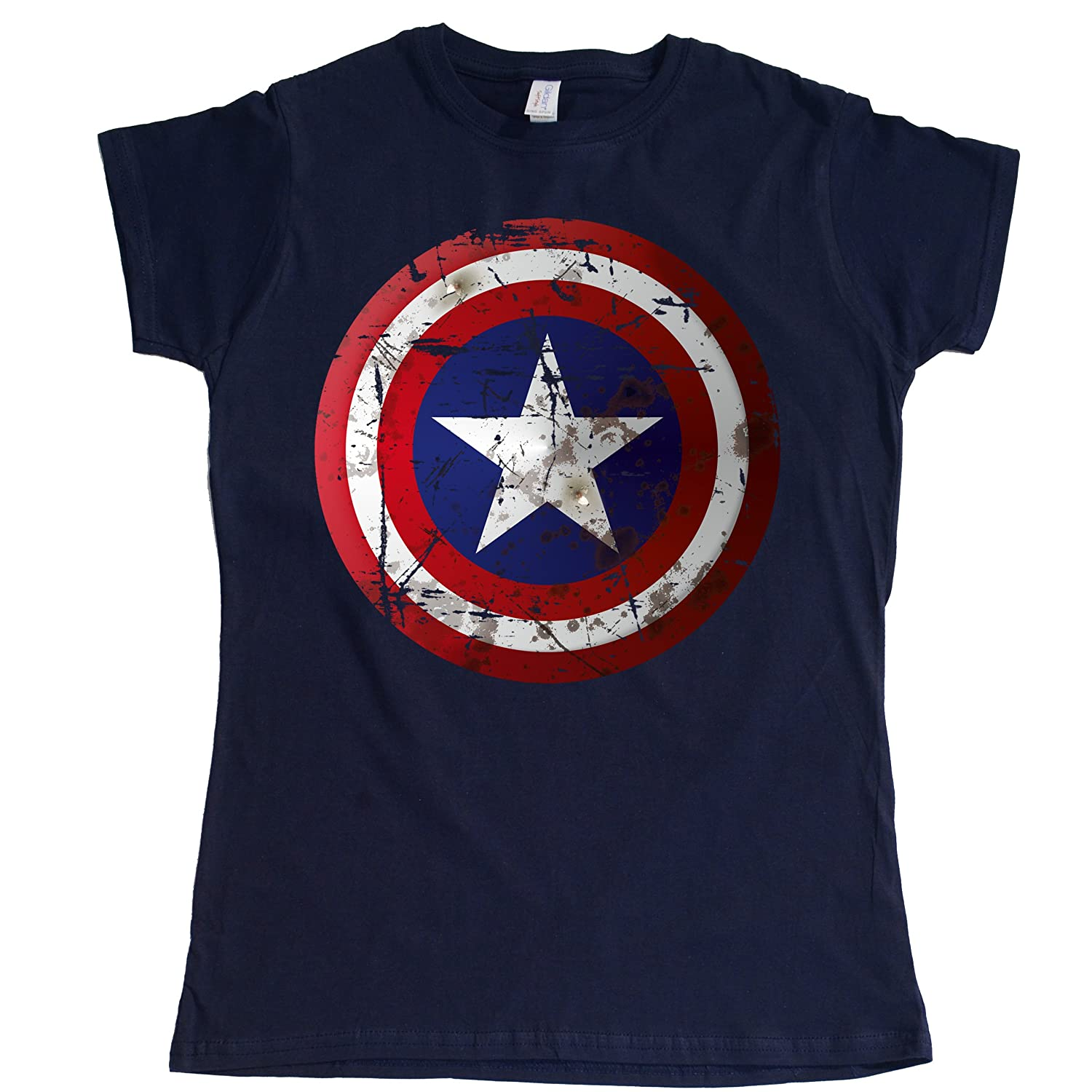 Stooble Womens's America Shield T-Shirt Stooble - 1ClickPrint