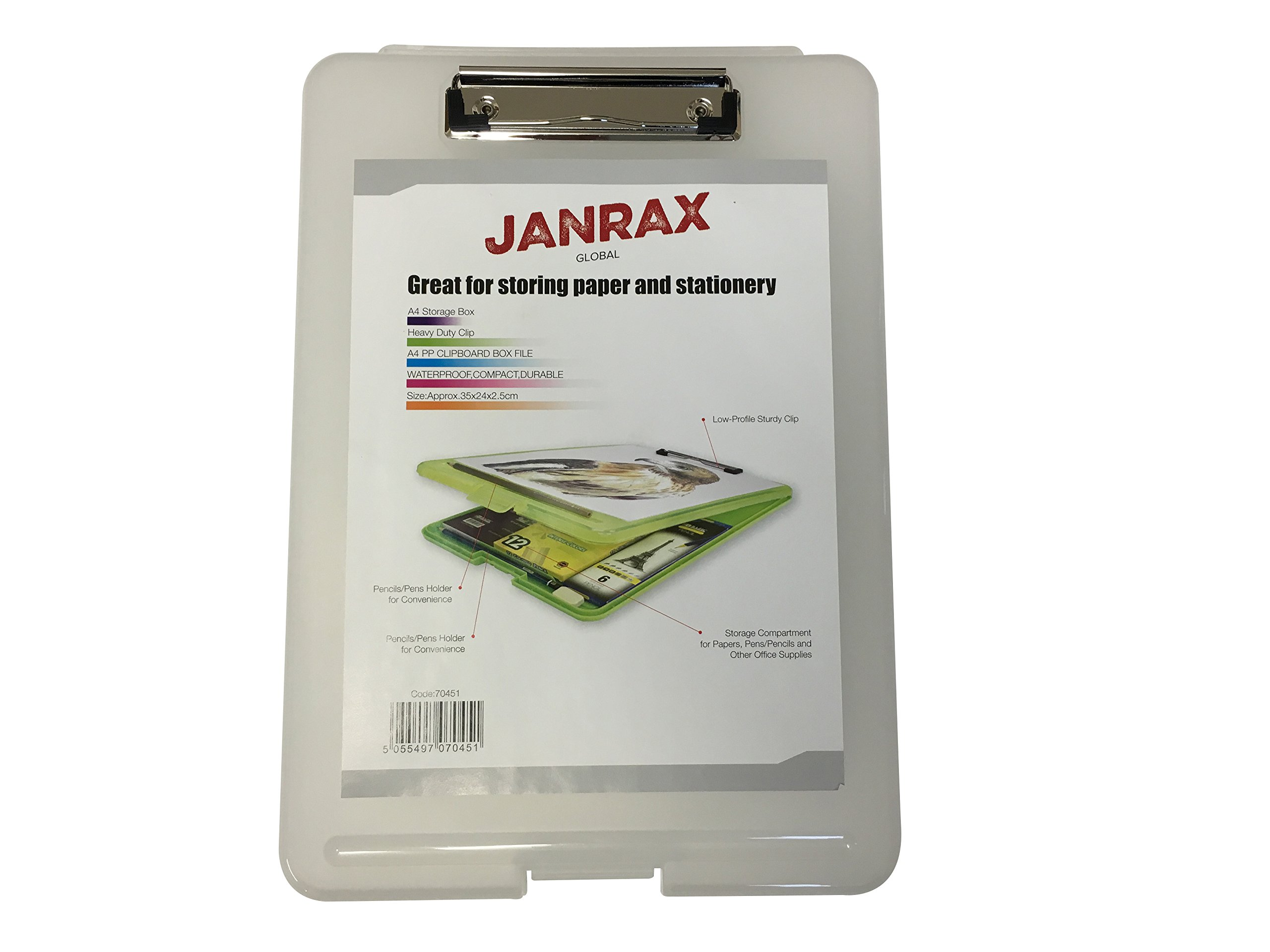 Janrax A4 Clear Clipboard Box File - Storage Filing Case