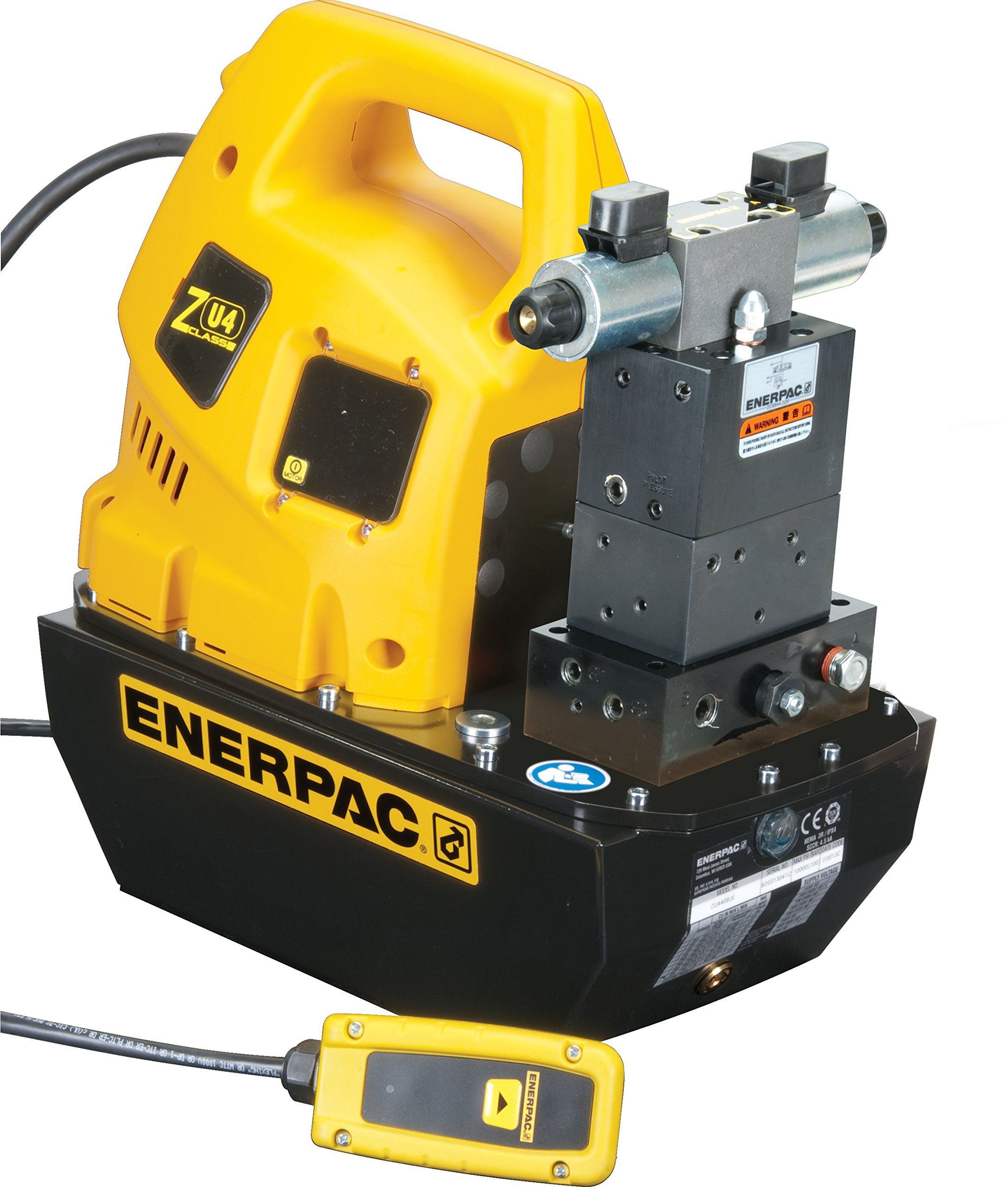 Enerpac ZU4408SB Universal Electric Pump with VE43 Solenoid Valve Liquid Crystal Display 115 Volts and 8 Liters Usable Oil Capacity by Enerpac