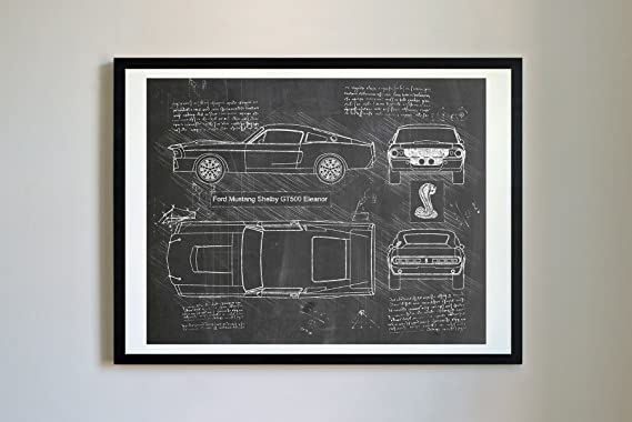 Dolan Paper Co #268 Ford Mustang Shelby Gt500 Eleanor 1967 Art Print, Da Vinci Sketch – Unframed – Multiple Size/Color Options (Blackboard, 11x14) by Dolan Paper Co