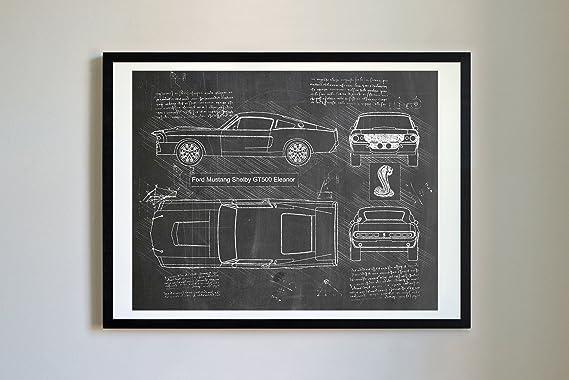 Dolan Paper Co #268 Ford Mustang Shelby Gt500 Eleanor 1967 Art Print, Da Vinci Sketch – Unframed – Multiple Size/Color Options (Blackboard, 11x14) by Dolan Paper Co