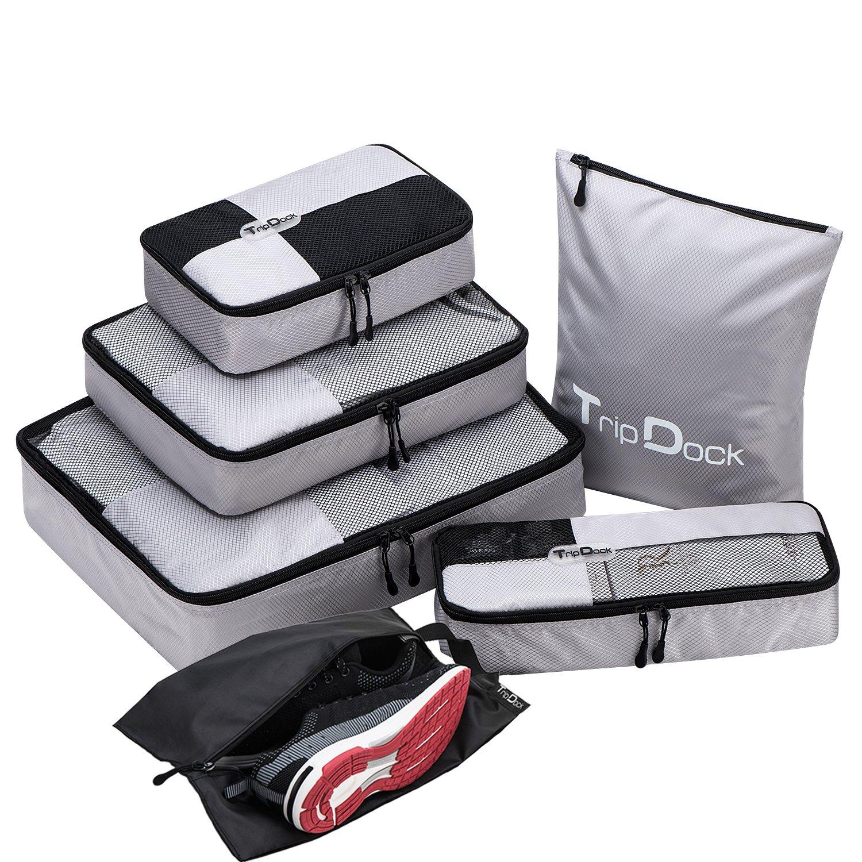 TripDock Various Packing Cubes 6 Set Lightweight Travel Luggage Organizers (1Grey(1Large+1Medium+1Small+1Slim+1 Shoes bag+1Laundry bag))