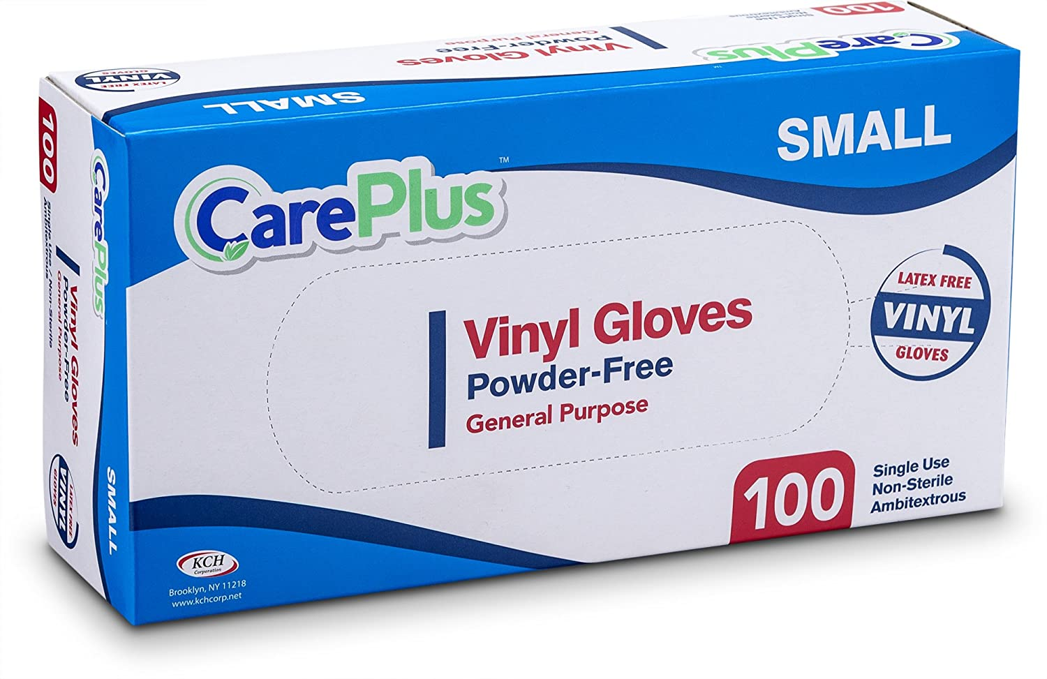 Care Plus Disposable Vinyl Gloves, Powder Free, Clear, Latex Free, Allergy Free, Small, 100 Gloves In A Box Pack Of 2 KCH corporation