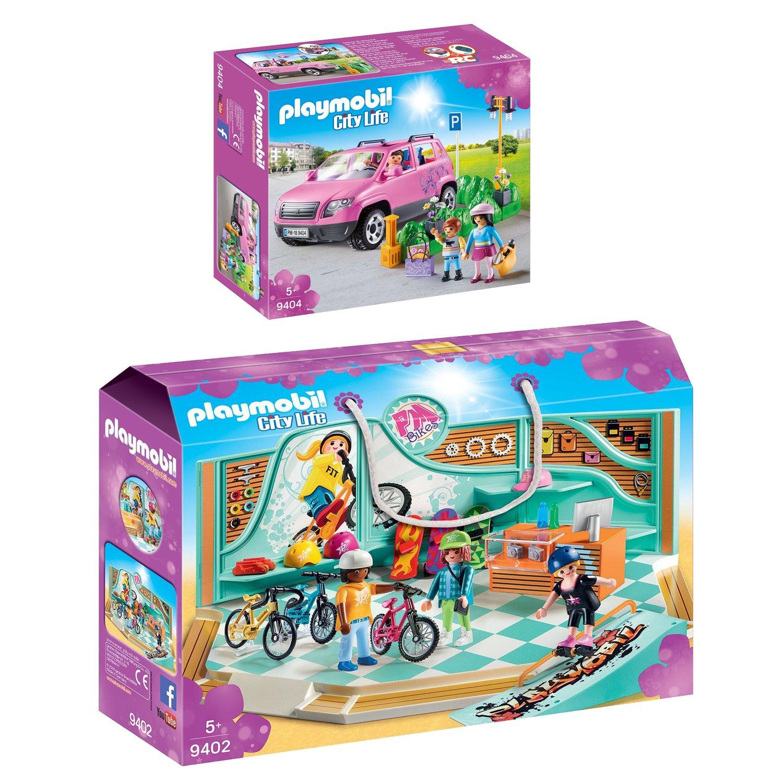 PLAYMOBIL® City Life 9404 2er Set 9402 9404 Life Bike & Skate Shop + Familien-Pkw mit Parkbucht 1eb96b