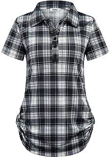 4de694e1 Sixother Women's Short Sleeve Cuffed Hem Turndown Collar Gingham Plaid Tunic  Top
