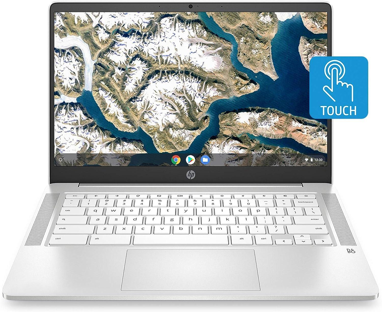 HP Chromebook 14-inch HD Touchscreen Laptop, Intel Celeron N4000, 4 GB RAM, 32 GB eMMC, Chrome (14a-na0040nr, Ceramic White) (Renewed)