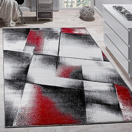 Paco Home Tappeto Di Design A Quadri Soggiorno Colori Rosso Grigiore ...