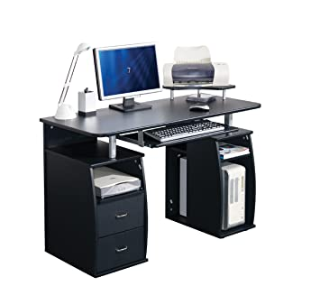 brand new 04edd ddebc COMPUTER DESK HOME OFFICE FURNITURE PC TABLE BLACK - NEXT DAY DELIVERY