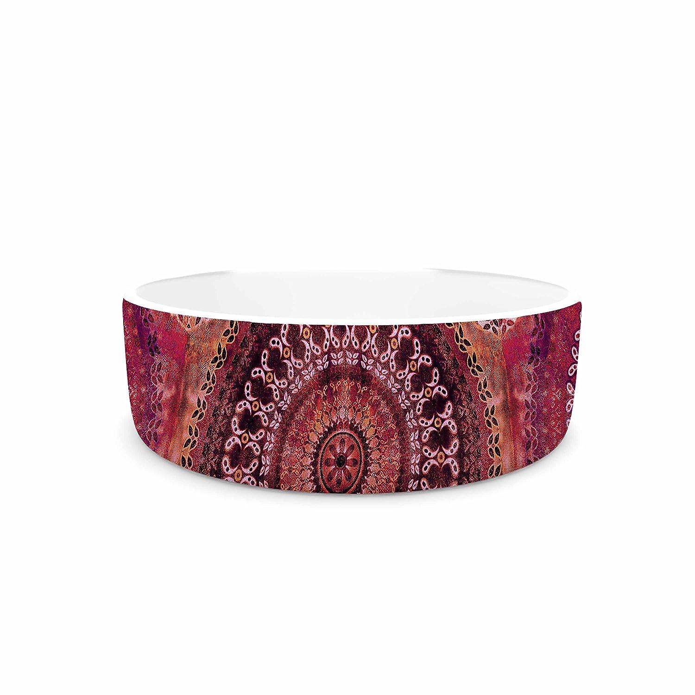 KESS InHouse Nina May Magenta Mandala Stripe Magenta Red Mixed Media Pet Bowl, 7  Diameter