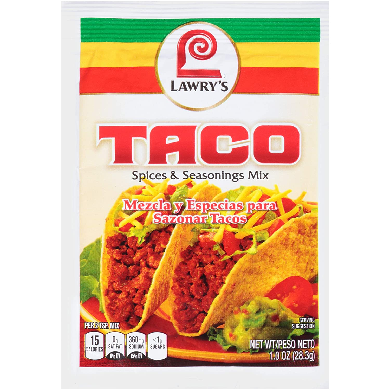 Amazon Com Lawry S Taco Seasoning Mix 1 Oz Meat Seasonings Grocery Gourmet Food